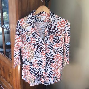 Cabi tunic high low hem pattern blouse s